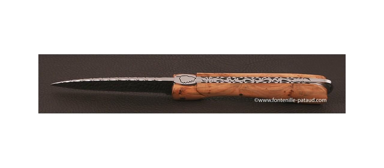 Corsican Sperone knife Guilloche Range Juniper burl