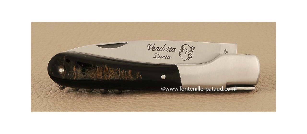 Corsican Vendetta knife Traditional Buffalo bark with corkscrew