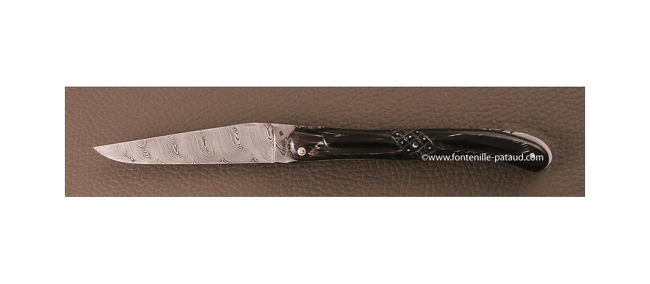 Couteau de laguiole en damas plein manche