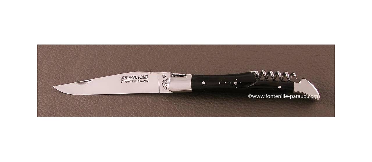 Couteau Laguiole Traditionnel 12 cm Classique avec Tire-Bouchon Pointe de corne noire