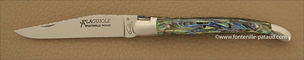 Laguiole Knife Traditional 11 cm Guilloche Range Mother of pearl