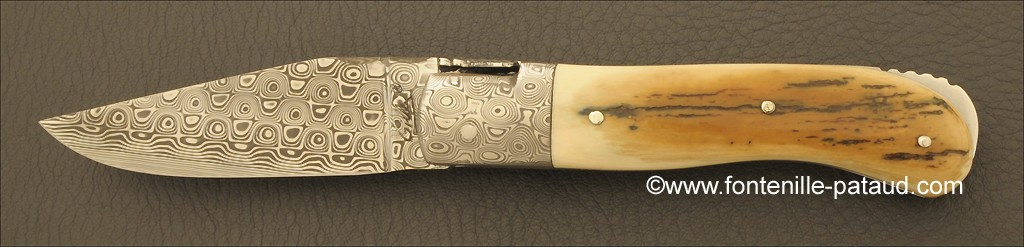 Laguiole Knife Gentleman Damascus Range Blue fossilized Mammoth Ivory