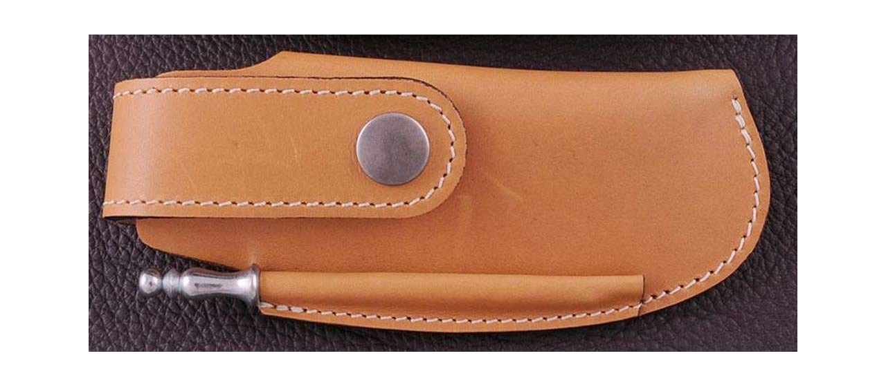Leather Belt sheath & sharpener, tawny, for Le Thiers® Gentleman, Capuchadou 12 cm, Sperone....