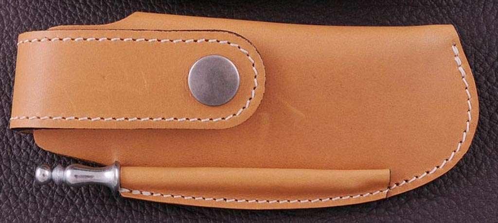 Leather Belt sheath & sharpener, tawny, for Le Thiers® Gentleman, Capuchadou 12 cm, Sperone....