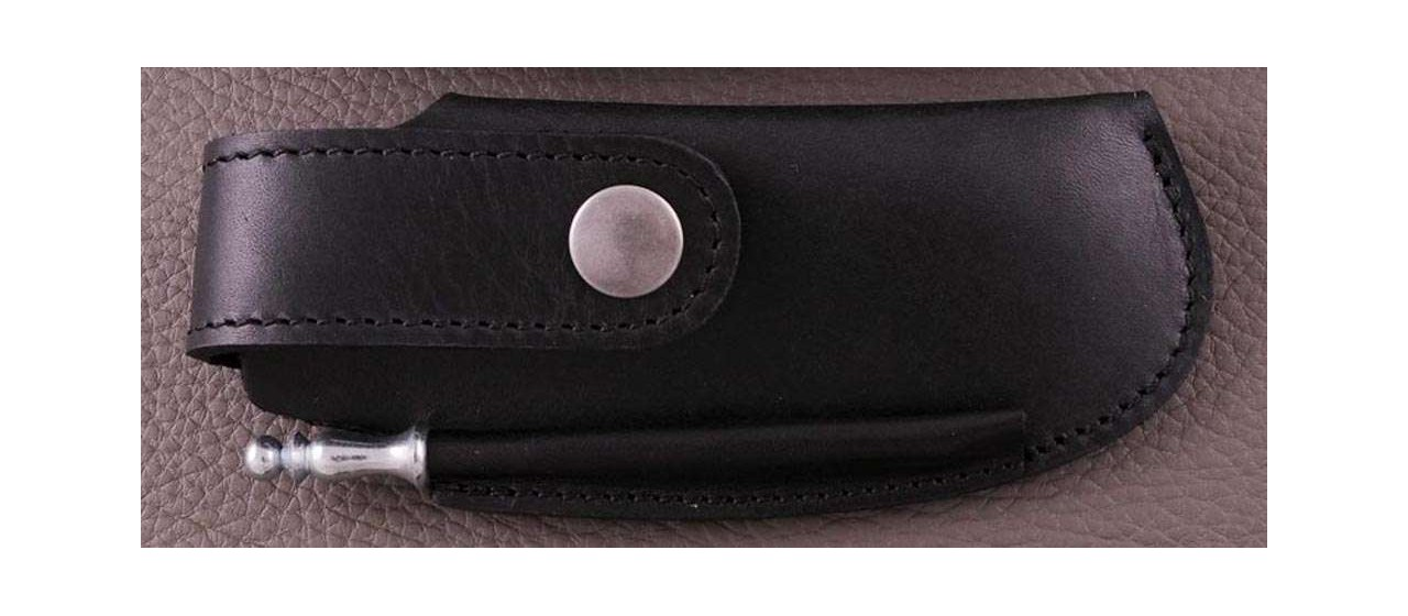 Etui de ceinture en cuir noir avec fusil pour Le Thiers® Gentleman, Capuchadou 12 cm, Sperone....
