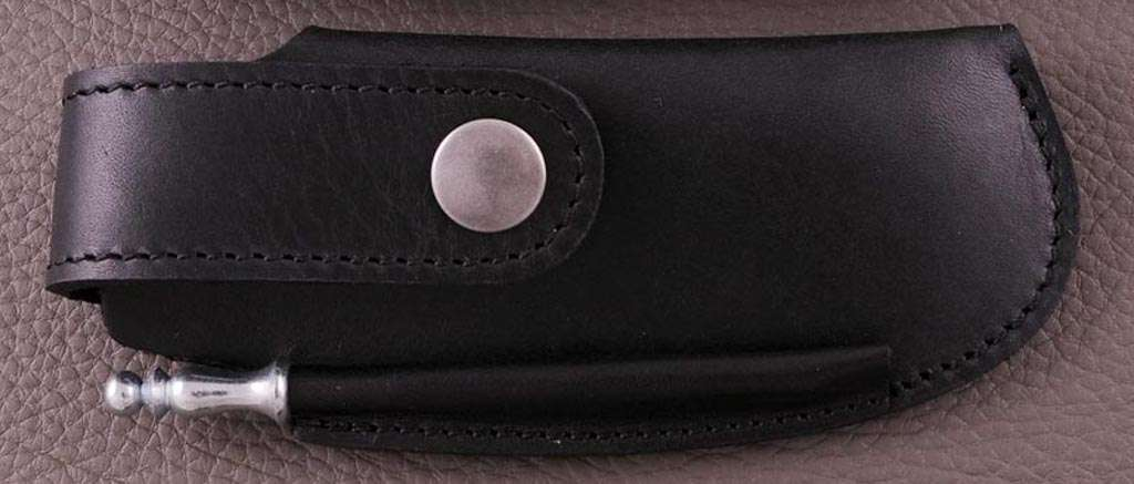 Leather belt sheath & sharpener, black, for Le Thiers® Gentleman, Capuchadou 12 cm, Sperone....