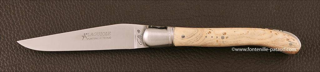 Ash burl Laguiole knife handmade in France gy Gilles
