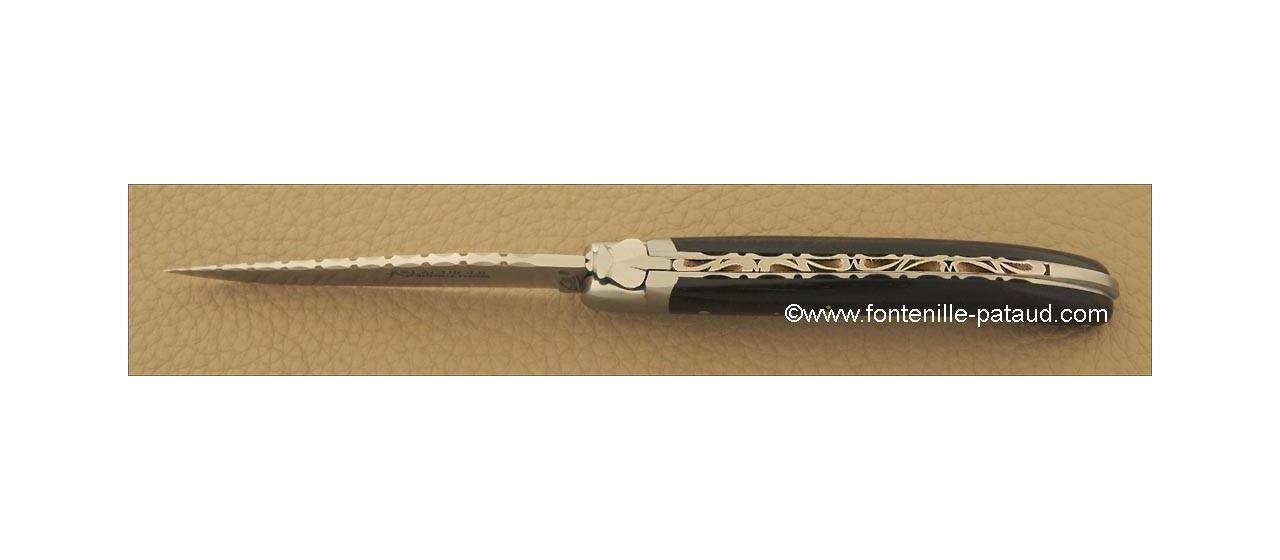 Laguiole Knife Le Pocket Guilloche Range Real ebony