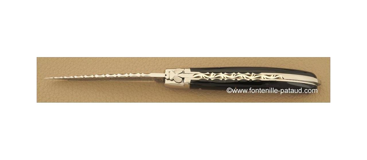 Couteau Laguiole XS Guilloche Pointe de corne noire