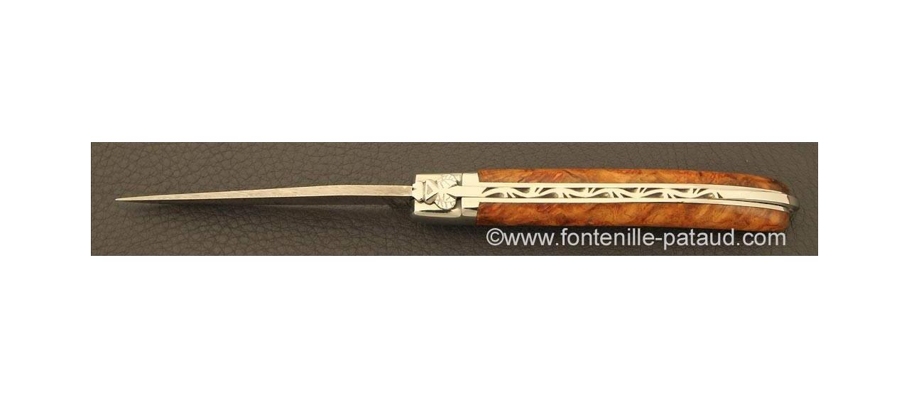 Laguiole Knife XS Damascus Range Stabilized poplar burl