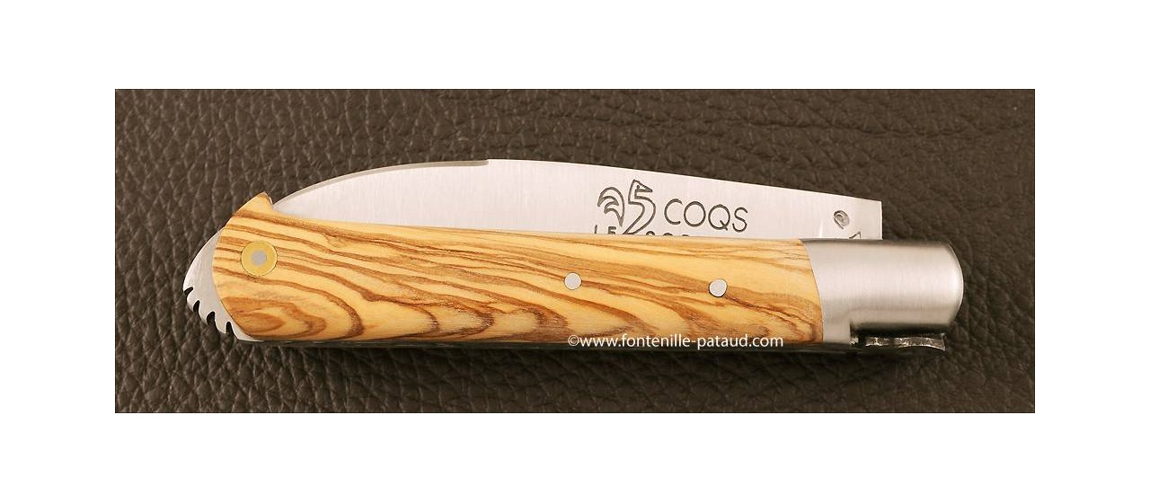 Le 5 Coqs knife olivewood hand made in France