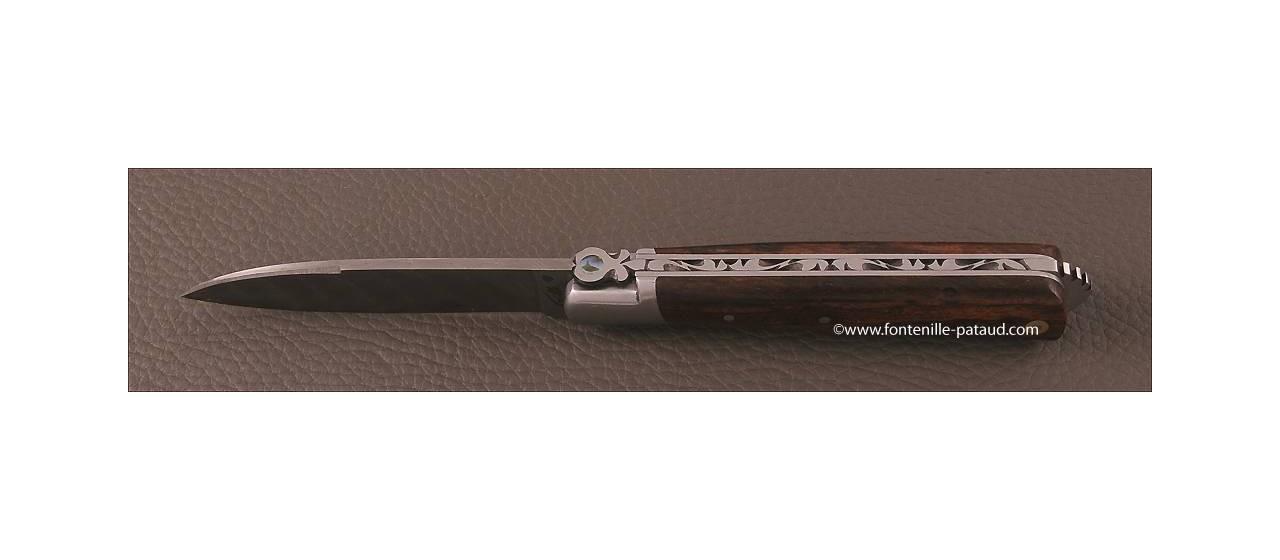 Couteau le 5 Coqs damas bois de fer fabriqué en France