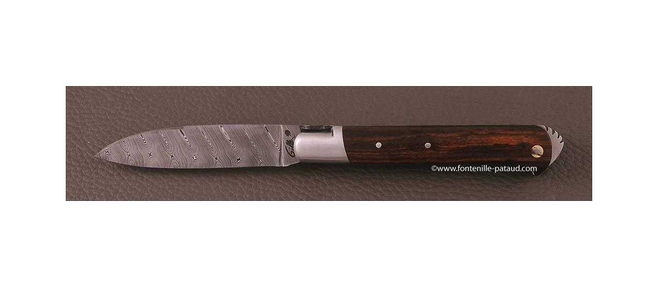 Le 5 Coqs knife damascus ironwood hand made in France