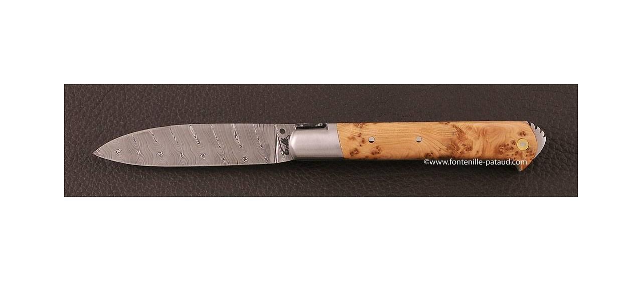 Couteau le 5 Coqs damas genevrier fabriqué en France
