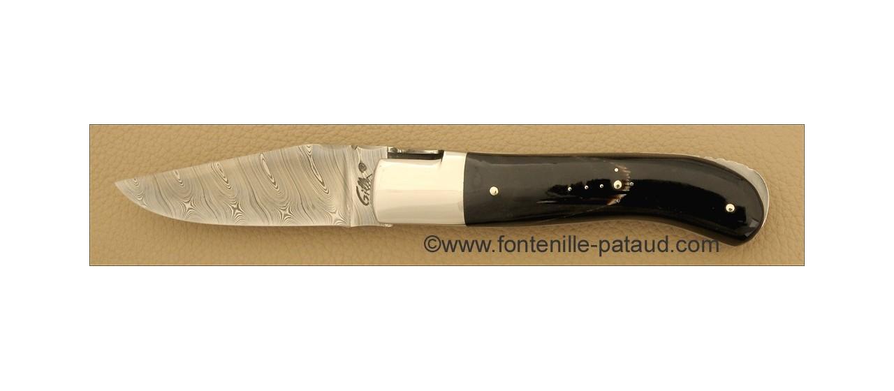 Couteau Laguiole Gentleman Damas Pointe de corne noire