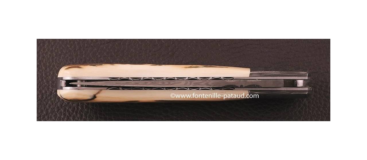 Couteau Laguiole Sport Damas Ivoire de Mammouth brun