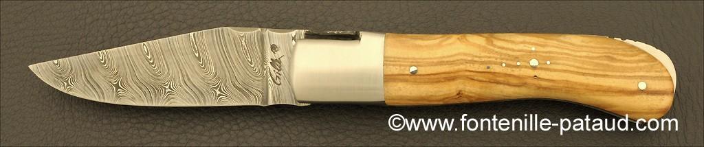 Laguiole Knife Gentleman Damascus Range Olivewood