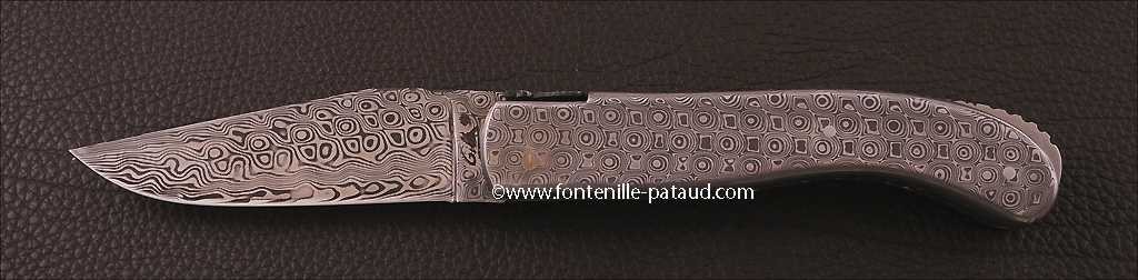 Laguiole Knife Sport Full Damascus Steel Delicate file work