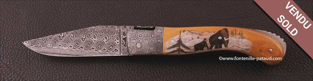 Laguiole Sport Damascus Range Brown Fossilized Mammoth, Delicate file work, Scrimshaw