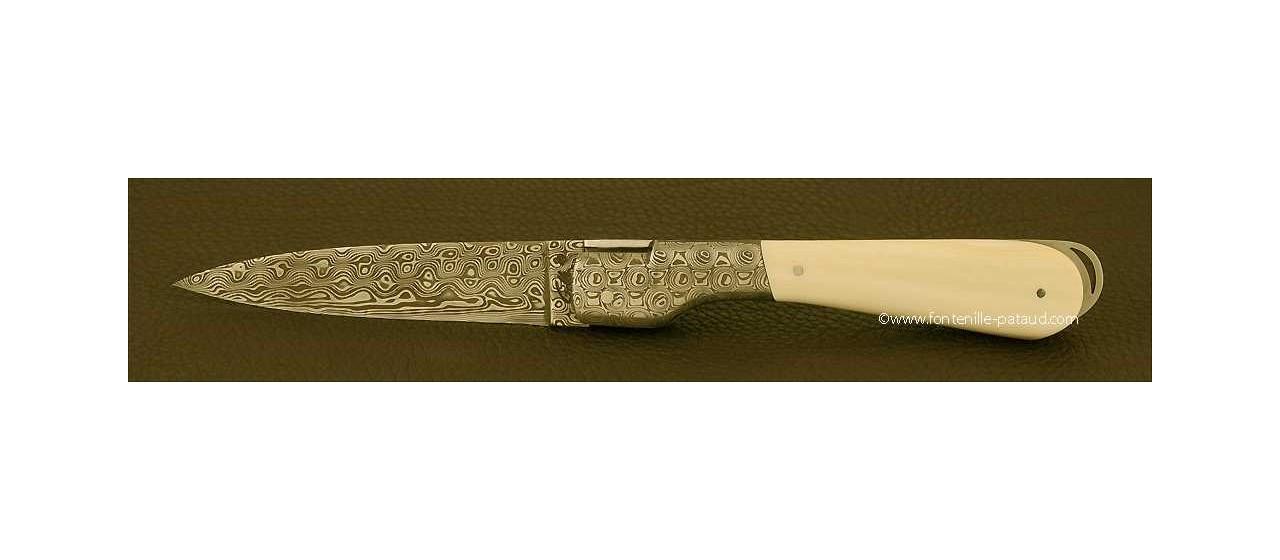 Couteau Sperone Corse Damas Ivoire de mammouth blanc