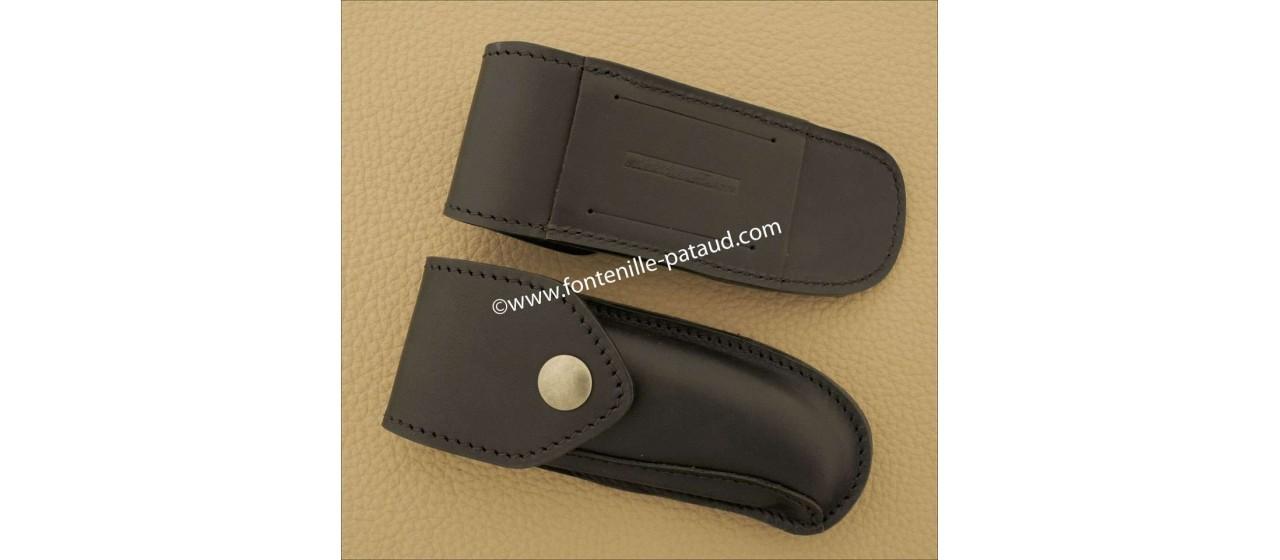 Etui de ceinture en cuir noir pour Laguiole Sport