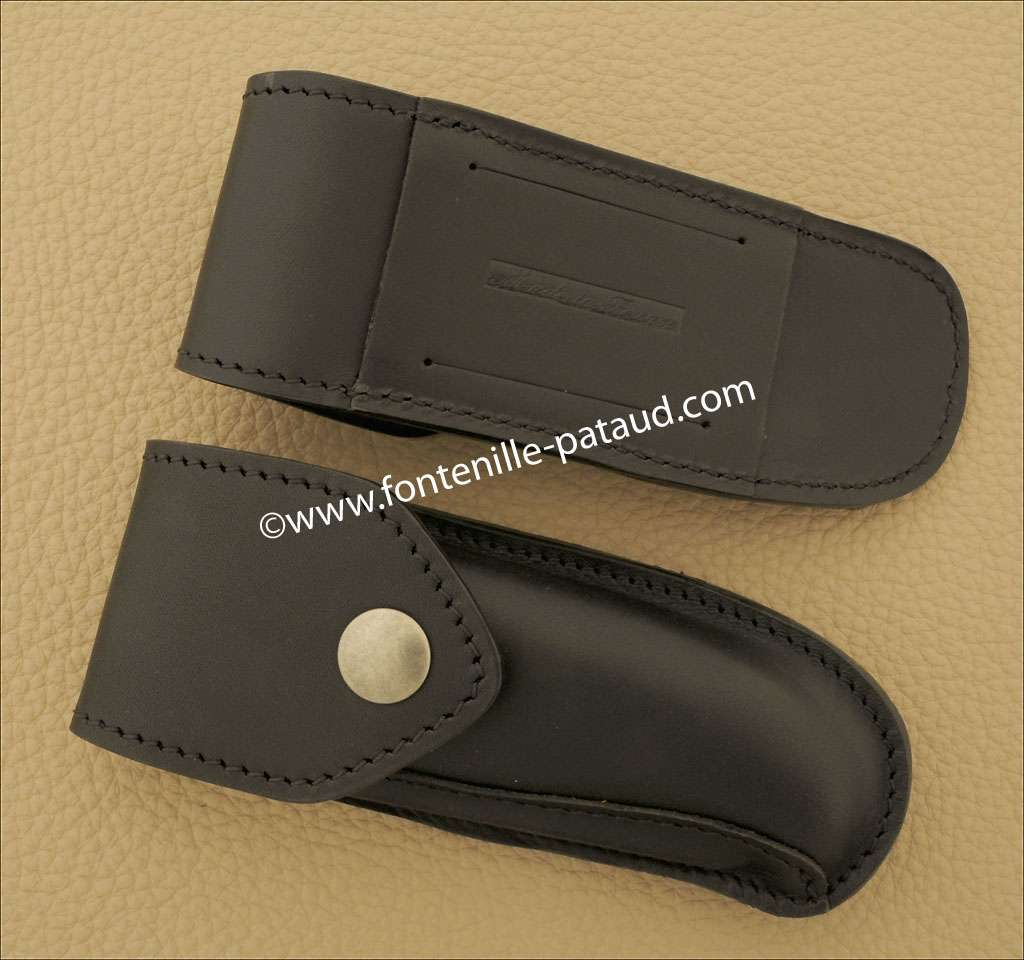 Leather belt sheath, black, for Laguiole Sport knife