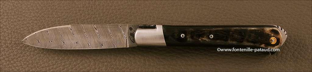 Couteau le 5 Coqs damas bélier noir fabriqué en France