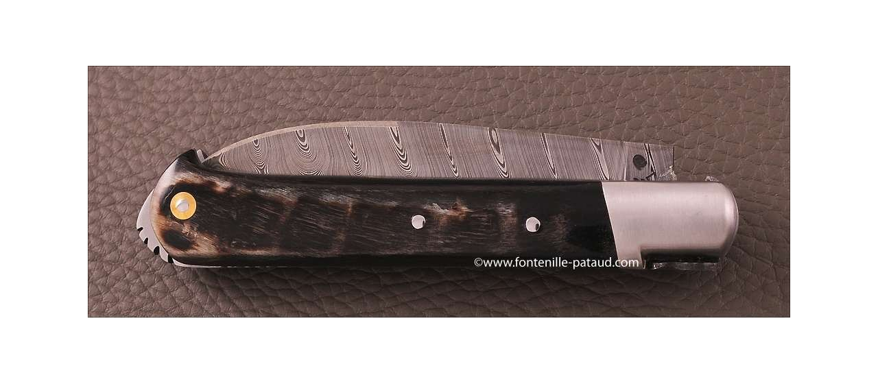 Le 5 Coqs knife Damascus ram horn hand made in France