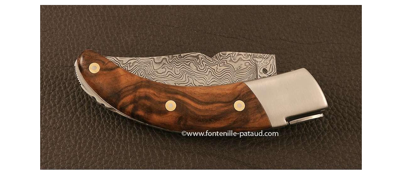 Corsican Rondinara knife Guilloché damascus range walnut