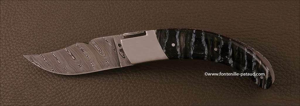 Couteau Corse le Rondinara avec lame Damas et manche en Molaire de mammouth
