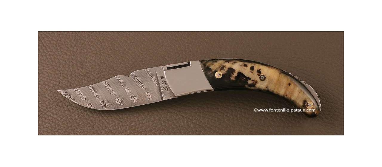 Corsican Rondinara knife Guilloché damascus range dark ram's horn