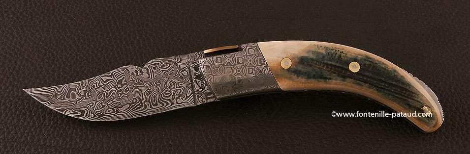 Couteau Corse le Rondinara mitres et lame Damas Mammouth bleu