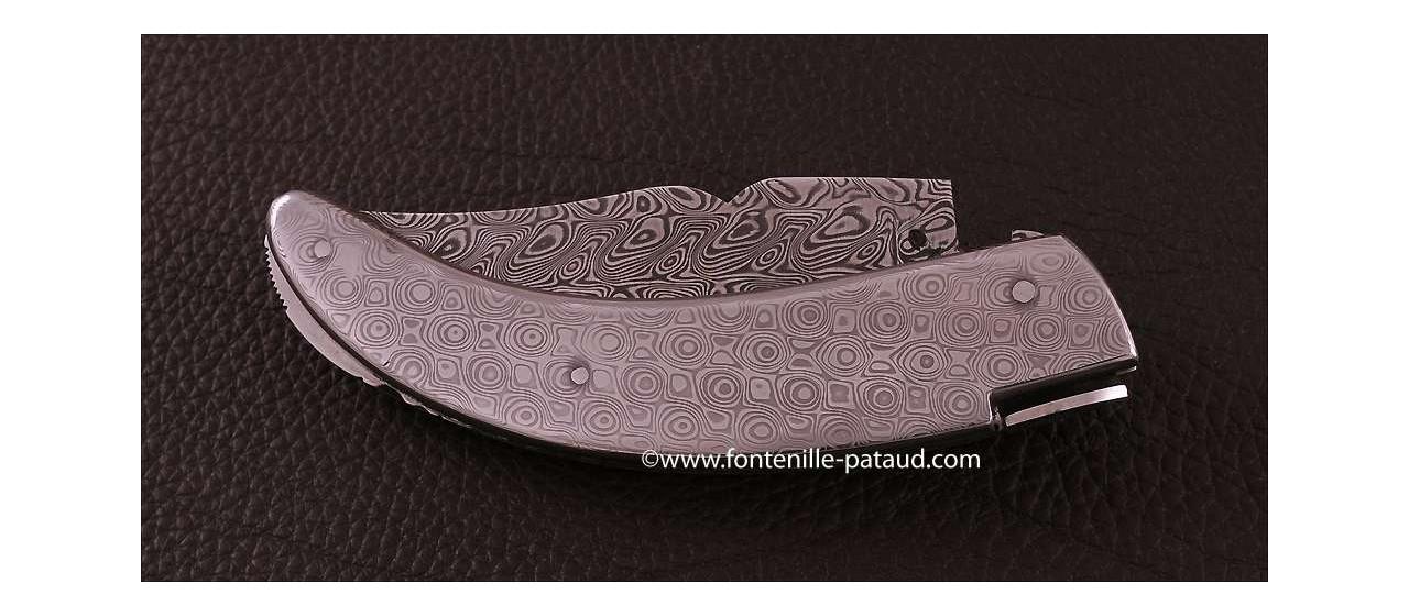 Corsican Rondinara knife Guilloché full damascus