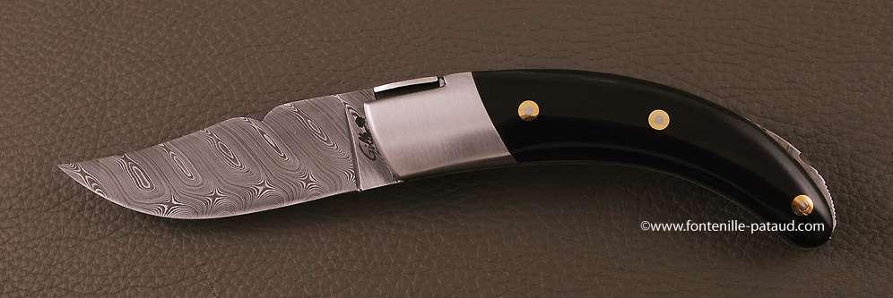 Corsican Rondinara knife damascus range buffalo horn tip