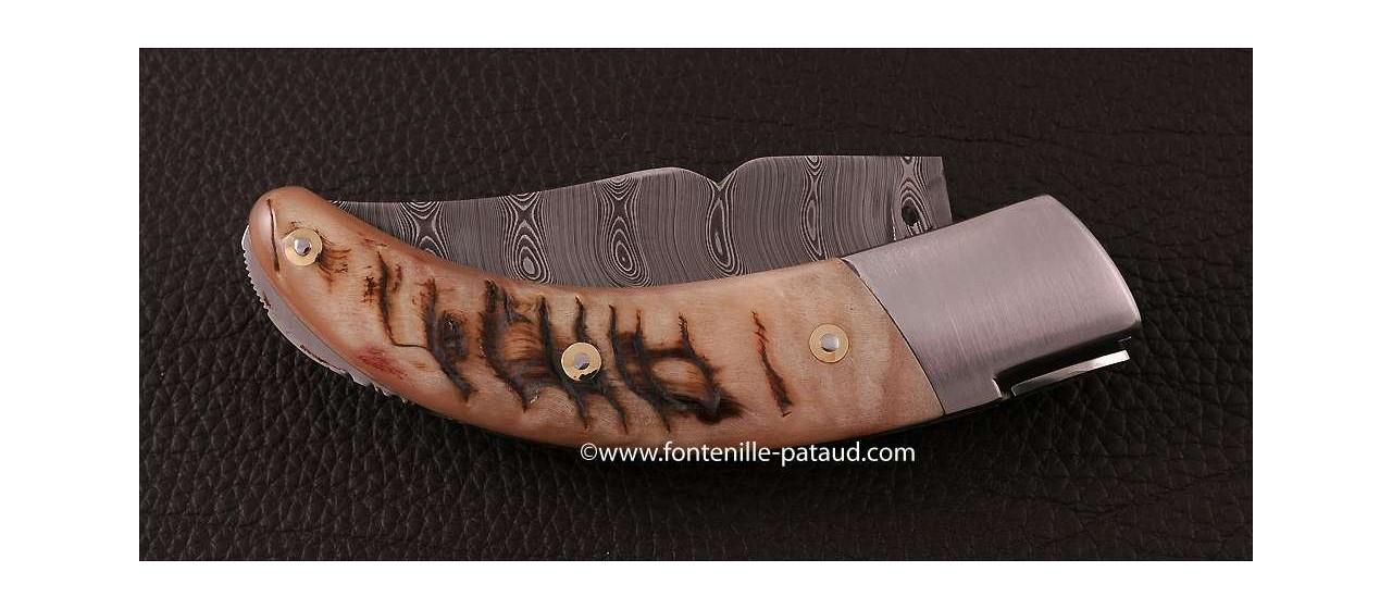 Corsican Rondinara knife damascus range ram horn