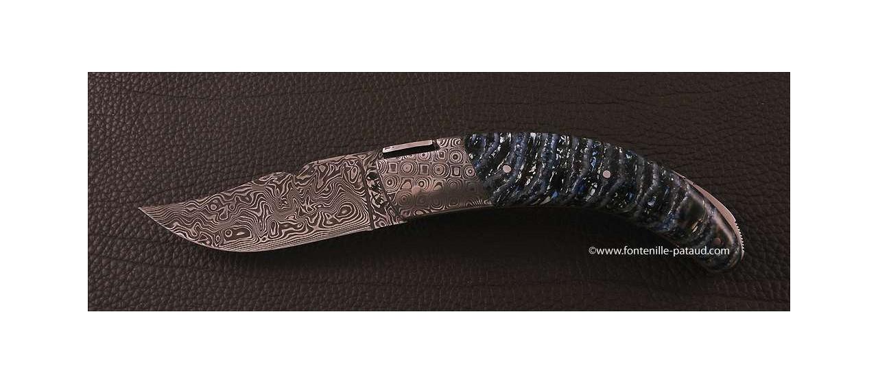 Couteau Corse le Rondinara Damas Molaire de Mammouth bleu guillochage fin