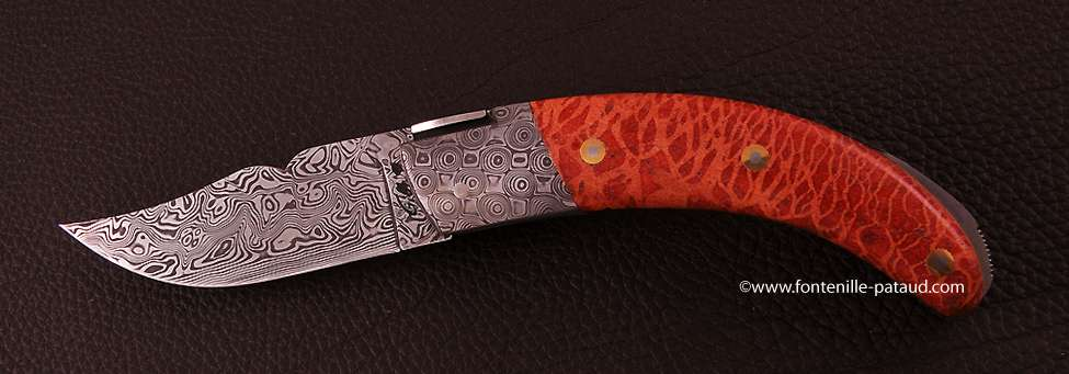 Corsican Rondinara knife damascus range red coral delicate filework