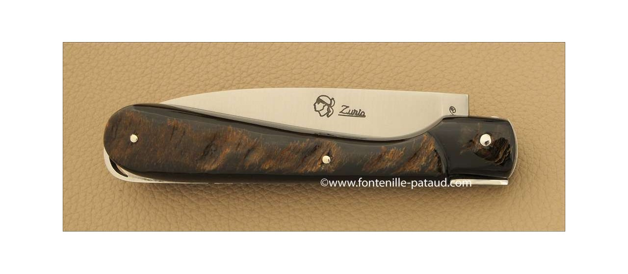 Corsican Sperone knife Guilloche Range Buffalo bark
