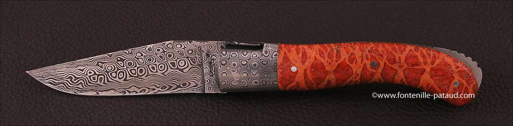 Laguiole Knife Sport Damascus Range Red Coral Delicate file work