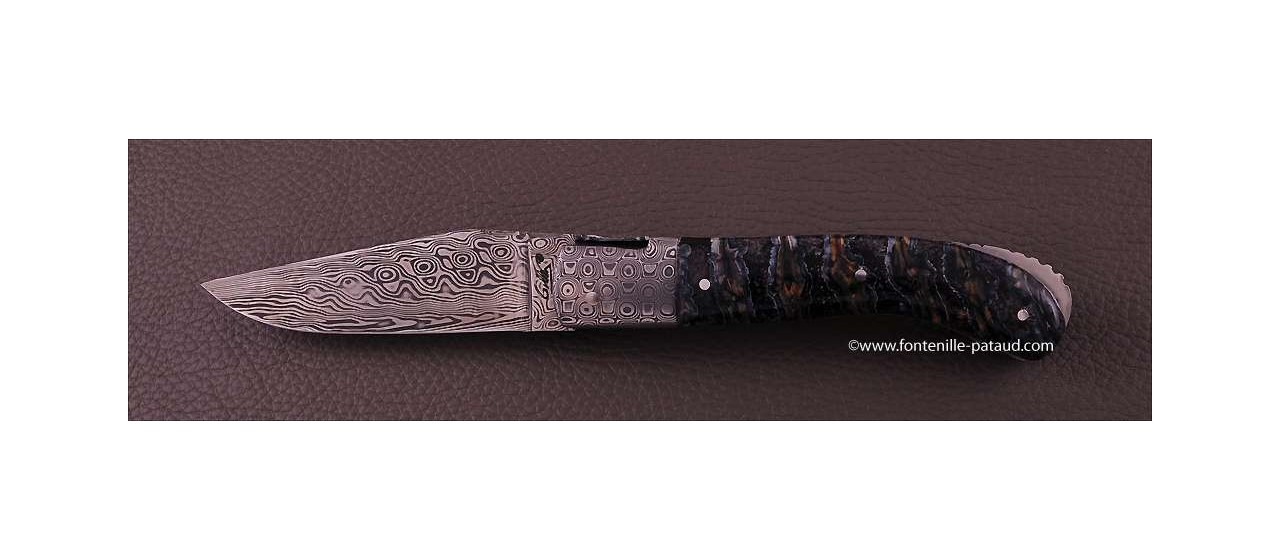 Laguiole Knife Sport Damascus Range Blue Molar Tooth of Mammoth Delicate file work