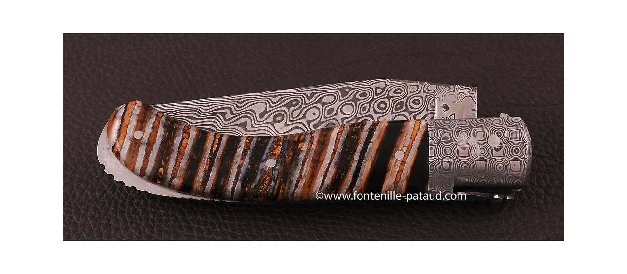 Laguiole Knife Sport Damascus Range Molar Tooth of Mammoth Delicate file work