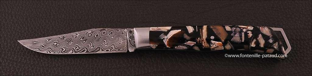 Le Saint-Bernard 11 cm Damas Ivoire de Mammouth Stabilisé Guillochage Fin