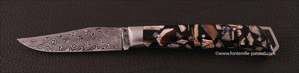 Le Saint-Bernard 11 cm Damascus Range Stabilized Mammoth Ivory, Delicate file work
