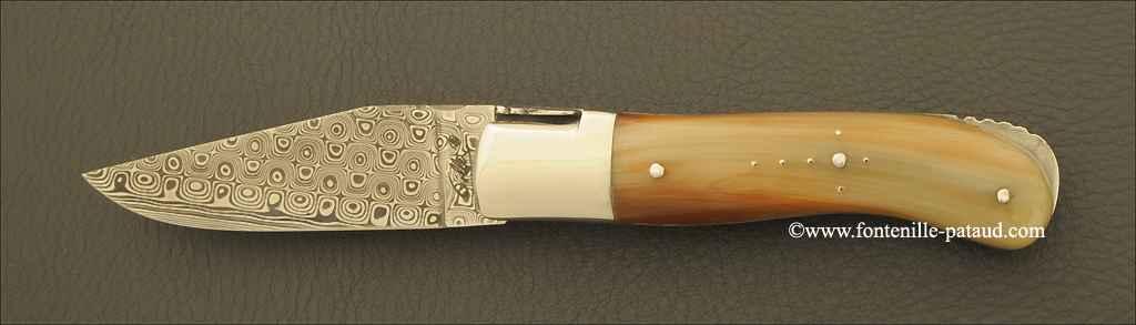 Laguiole Knife Gentleman Damascus Range Real horn tip