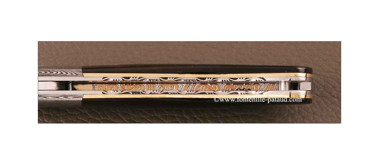 Laguiole Knife Gentleman Damascus Range Genuine Tortoise Delicate file work