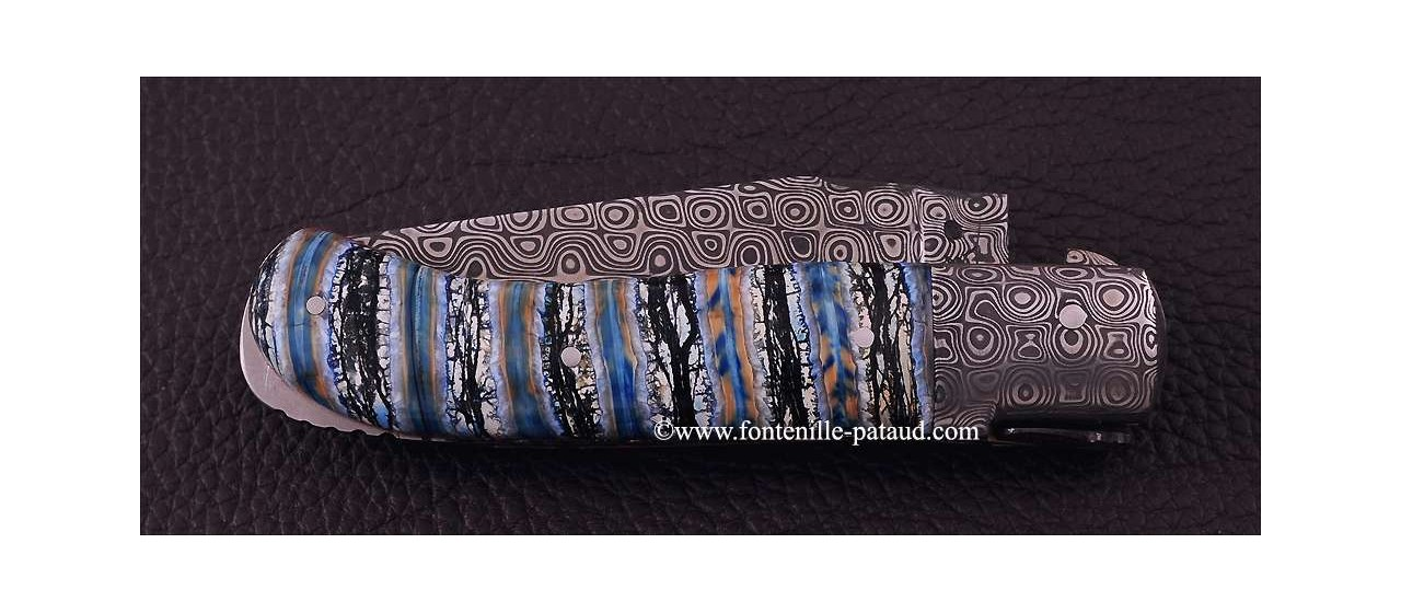 Laguiole Knife Gentleman Damascus Range Molar Tooth of Mammoth Ivory Delicate file work