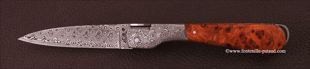 Corsican Sperone knife Damascus Range Stabilized poplar burl