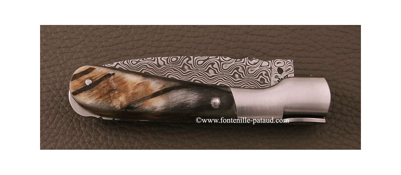 Corsican Pialincu knife Damascus range Black ram horn
