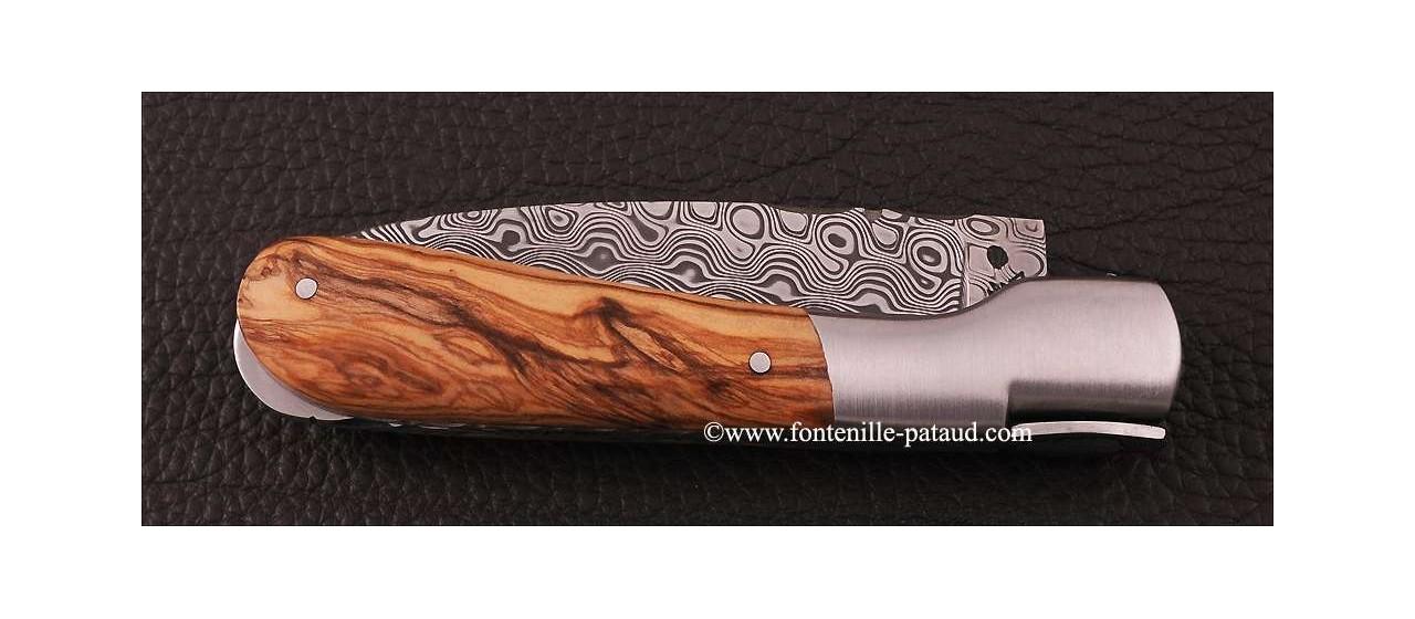 Corsican Pialincu knife Damascus range Olivewood