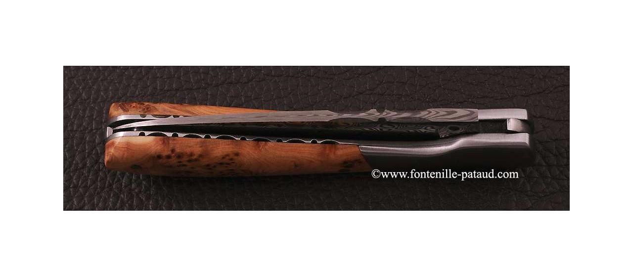 Corsican Pialincu knife Damascus range Juniper
